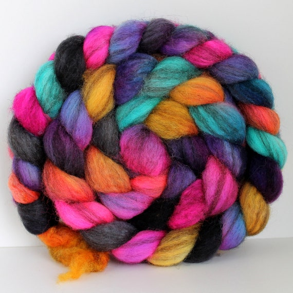 FIRECRACKER - Mixed BFL Hand Painted Roving - 4ozs
