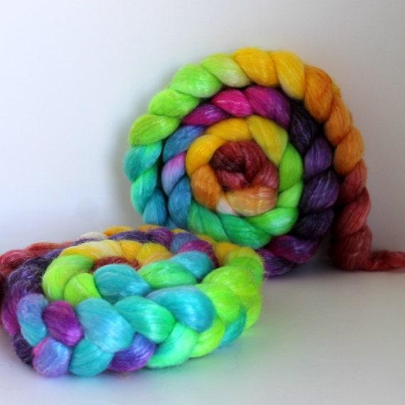 Reserved Rainbows -  Merino/Tencel Roving- 6oz