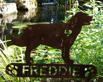Golden Retriever PET MEMORIAL Garden Plaque Stake Yard Ornament Lawn Personalized