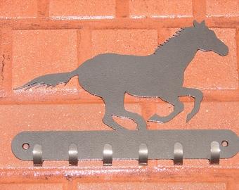 Mustang Horse Metal KEY RACK Coat Hook Hat Western Equestrian Leash