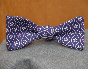 Cream Floral on Plum  Bow Tie