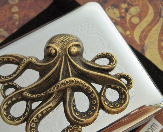 Brass Octopus Business Card Case Nautical Gothic Victorian Steampunk Style Vintage Inspired Style Silver Plated Cigarette Case Mixed Metals