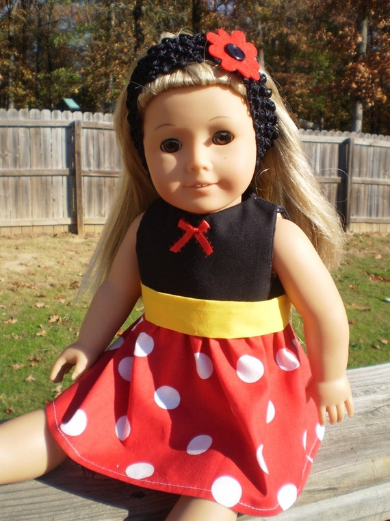 Minnie Mouse Red White Polka Dot Dress Fits 18 Doll