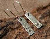 Handmade Sterling Silver Earrings With Stamped Square Spirals