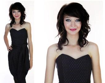 80s Prom Dress Formal Party Vintage Metallic Blue Black Strapless Sweetheart Bodice Boning Top Wrap Dress Sexy S Small Medium M