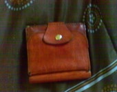 Vintage Cowhide Leather Billfold....bi fold wallet, wallet with snap, brown Brasil