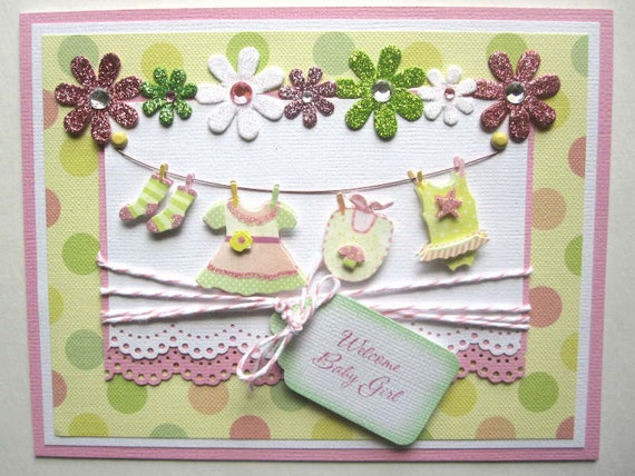 New Baby Girl or Baby Shower card can be PERSONALIZED