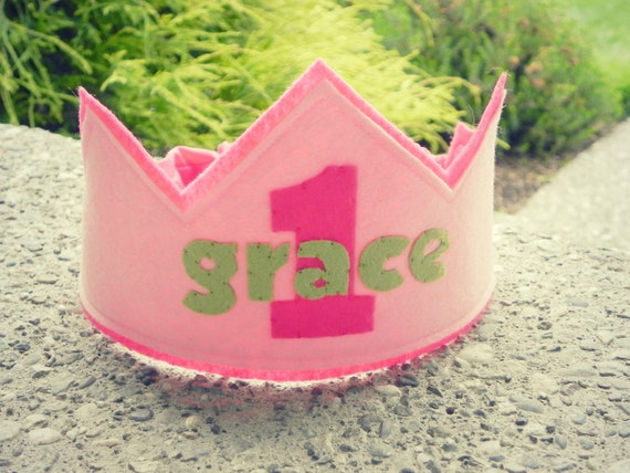 Personalized First Birthday Crown - Girlie