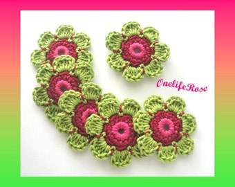 Crochet Flowers 6 pieces