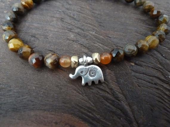 Tiger's Eye Protection Mala Bracelet - elephant, mala, Yoga Jewelry, Reiki, Spiritual Jewelry, Meditation, Protection