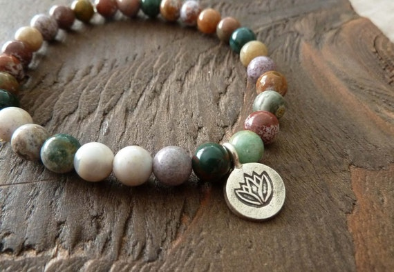 Soothing Ocean Jasper Mala Bracelet - Worry Beads, Buddhist, Yoga, Meditation, Prayer Beads, Eat Pray Love, Jewelry, Charm Bracelet
