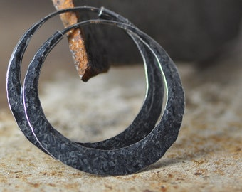 dark patina silver hoop earrings 1 1/4 inch, with raw silk hammer texture, small hoops endless style