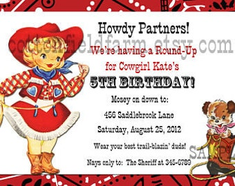 Retro Cowgirl Party Invitation Personalized Digital Sheet C-337