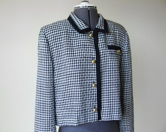 Vintage Cropped Jacket Black and White Gingham Checkered Jacket by Leslie Fay.