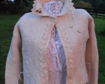 Winter Wedding Trousseau Irish Ivory Sweater Jacket Felted Upcycled Hand Applied Lace & Embellishments Free Shipping