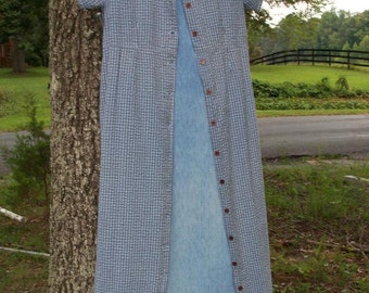 Dress Set Upcycled Chambray Jumper Romantic Prairie Look Embellished With Over Coat Dress Three Piece Ensemble Size 11 Tall