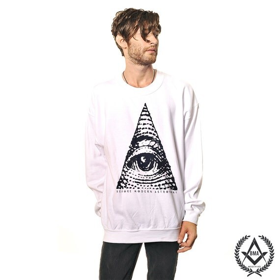 Crew Sweater / / All Seeing Eye White BMA Modified Small