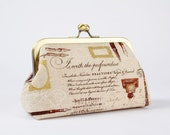 Bag pouch - Handwriting - metal frame clutch bag