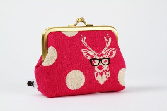 Deep dad - Echino Buck in pink - metal frame purse