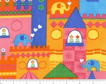 Elephants On Parade Fun Kidz Circus Town in Multi Brights Cotton Fabric by Timeless Treasures - 1 yard