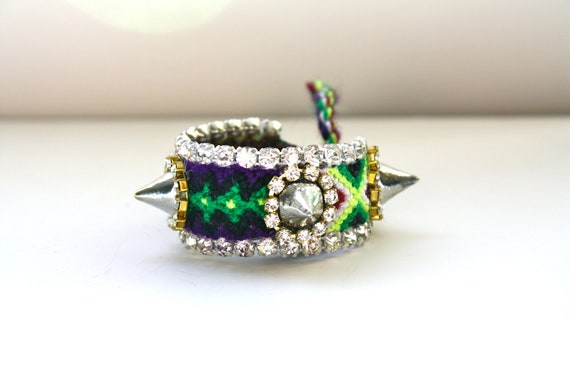 SALE- Mini Frienemy Bracelet- Ready to Ship as is (Black, Purple & Green with Silver Spikes)