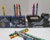 Wooden US Air Force Train Crayon Holder with CrayonsMilitary Crayon Holder~Support Our Troops Crayon Holder~Patriotic~Educational~Learning