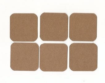 Mini Note Cards 2x2 - Kraft Brown (set of 6) SALE