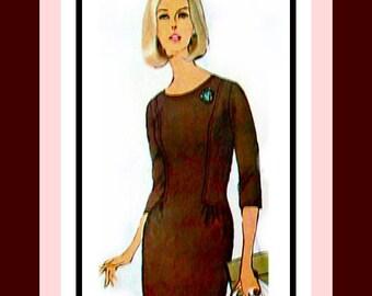 Vintage 1965 -Designer Wiggle Dress -Sewing Pattern -Two Chic Styles-Lowered Round Neckline-Lowered Waistline-Size 16-Rare