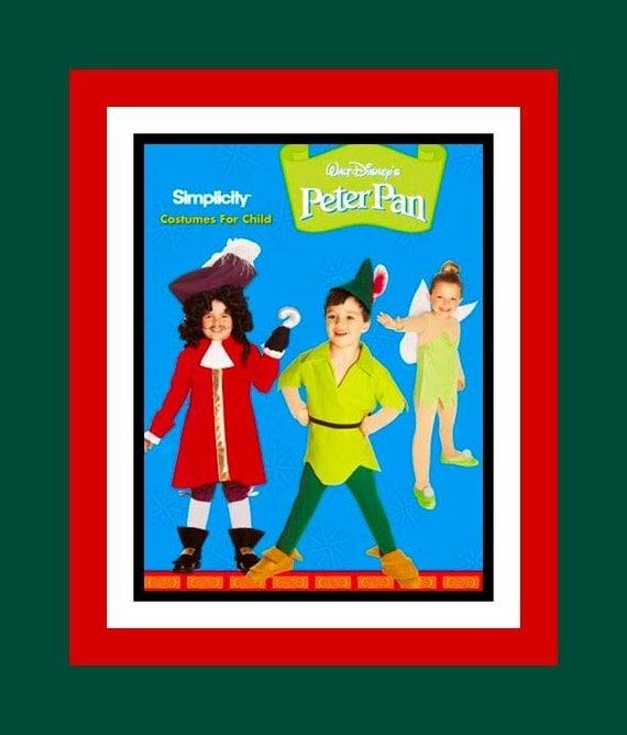 Peter Pan -Tinker Bell -Captain Hook- WALT DISNEY -Childrens Costume Sewing Pattern-  Uncut -Size 3-8-  OOP- Rare