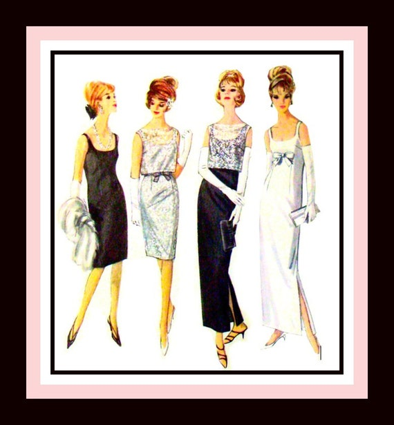 Vintage 1964- AUDREY HEPBURN Style- Sewing Pattern-Elegant  Evening Gown- Sexy Cocktail Dress -Overblouse- Size- 12- Rare