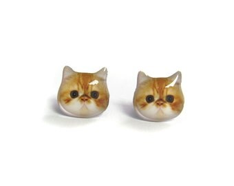 Orange and white Persian Cat Kitten Stud Earrings / Persian Cat earrings / animal / kitten / pet memorial gift / cat lover /  A025ER-C16