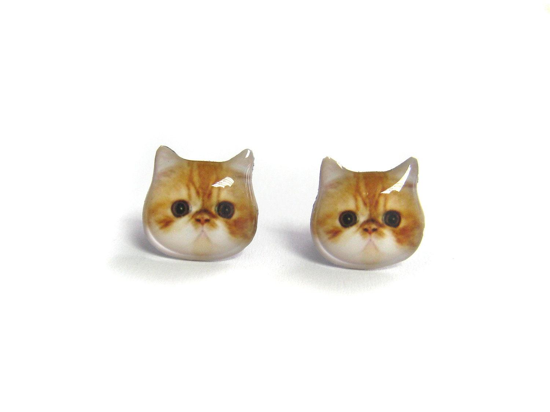 orange and white cat kitten stud earrings