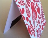 Magnetic Bookmark - red bird print