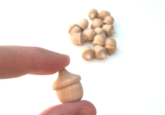 25 Miniature Wooden Acorn Shapes for Wood Charms, Pendants, Key Chains, Ornaments - Tiny Unfinished Acorns