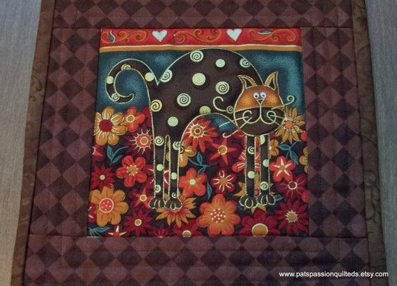 Quilted Mini Mats or Mug Rugs Folk Art Cats  Set of 2