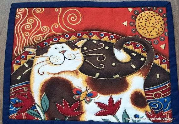 Mini Place Mats or Mug Rugs Folk Art Cats    Set of 2