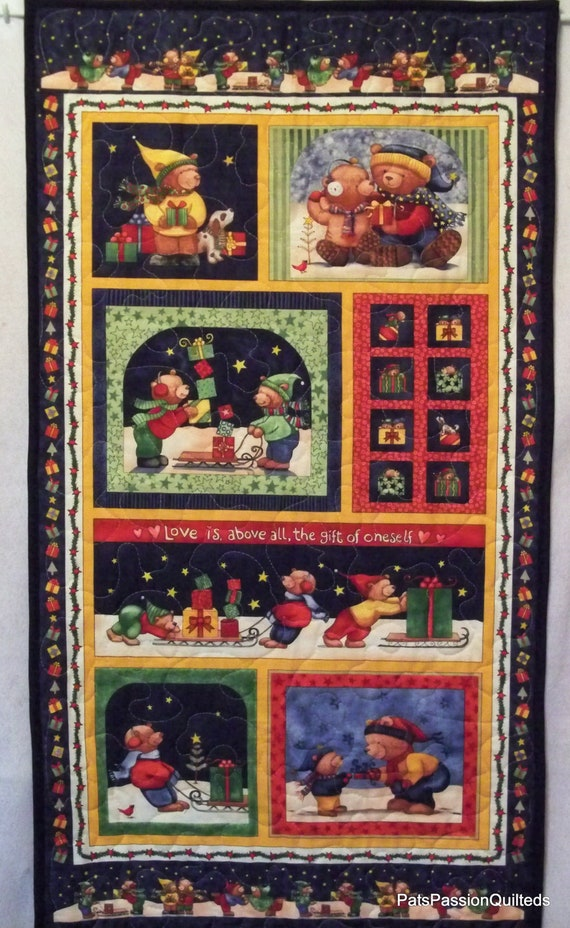 Christmas Bears Quilted Wall Hanging