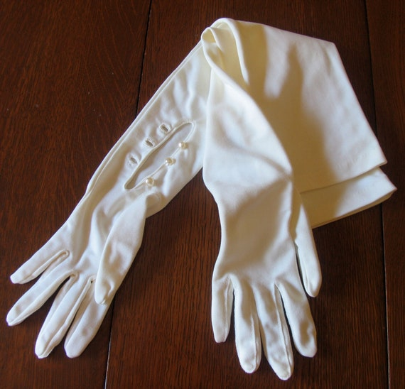 Vintage Extra Long White Nylon Gloves Pearl Buttons Wedding