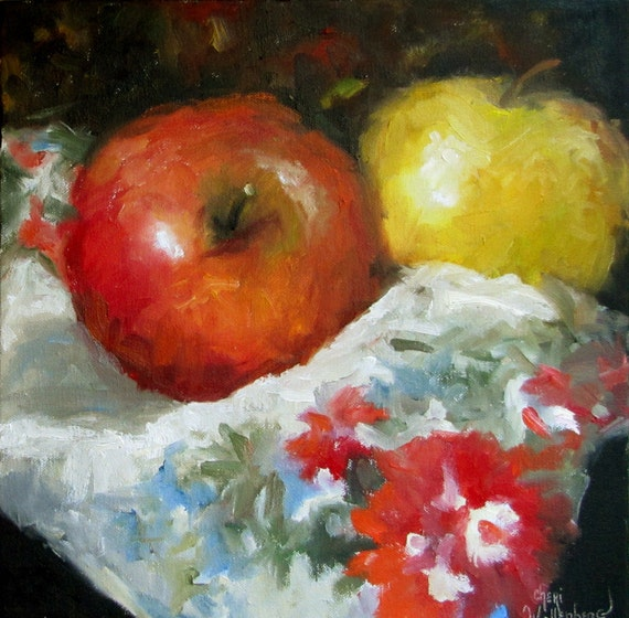 Food Still Life Painting, Red Yellow Apples, Original Oil Canvas Painting by Cheri Wollenberg