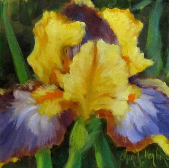 Yellow and purple iris original oil painting small decorative for Purple and yellow painting