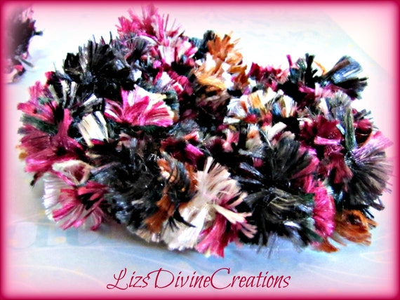 Luxurious Burgandy Full Bodied Varigated Boa  Double Banded Hair Scrunchie SALE Was 2.75 Now 2.50