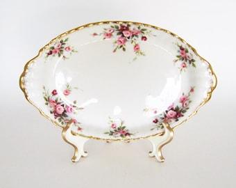 Vintage Shabby Chic Bowl - Rose Bone China Serving Dish - England Cottage Kitchen Decor