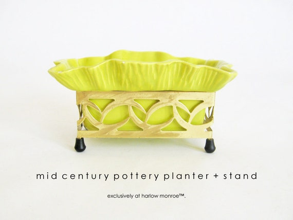 Vintage MID CENTURY Planter - Lime Chartreuse Green California Pottery - 1950s Gold Planter Stand
