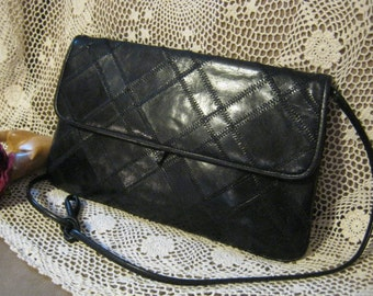 Vintage black leather clutch bag, black leather zigzag stitching handbag, skinny strap or clutch black leather bag by Lisette