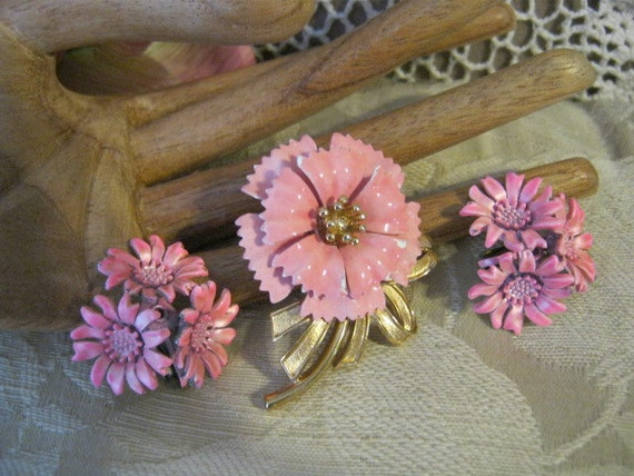 Carnation pink carnation pin by Crown Trifari and flower bouquet clip earrings