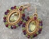 Lemon Quartz Ruby Peridot Amethyst earrings woven in 14k gold filled wire