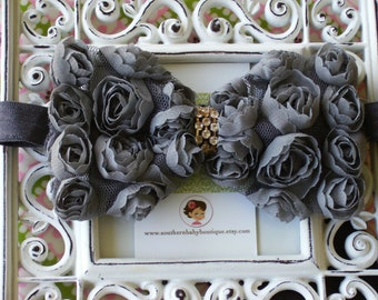INVENTORY BLOWOUT SALE----Boutique Baby Girl Headband or Clip with Rhinestone Rose Flower Rosette Bow---Gray---Romantic Couture