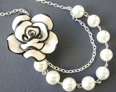 Flower Necklace Bridesmaid Jewelry Pearl Necklace Wedding Jewelry Wedding Necklace Beaded Jewelry