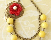 Yellow Necklace Bridesmaid Jewelry Flower Necklace Bridesmaid Necklace Gift Rose Jewelry Beadwork