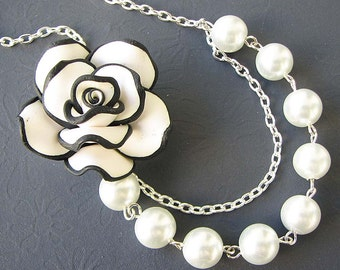 Bridesmaid Jewelry Beaded Necklace Flower Necklace Pearl Necklace Bridesmaid Gift